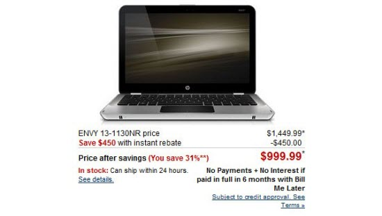 HP drops Envy 13 price to $999