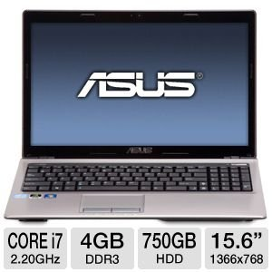 "ASUS A53SD-TS71 15.6"" Laptop: 2nd Gen Intel Core i7-2670QM 2.20GHz, 4GB DDR3, 750GB HDD, 2GB NVIDIA GeForce GT"