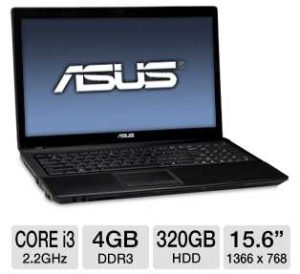ASUS A54C-TB31 Laptop Computer w/ 2nd generation Intel Core i3-2330M 2.2GHz, 4GB DDR3, 320GB HDD
