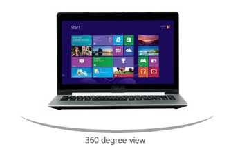 "ASUS VivoBook S400CA-UH51T 14"" Touchscreen Notebook w/ Core i5-3317U, 4GB DDR3, 500GB HDD + 24GB SSD, Windows 8"