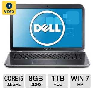 "Dell Inspiron 15R i15R-2106sLV Notebook with Core i5-3210M 2.5GHz, 8GB DDR3, 1TB HDD, DVDRW, 15.6"" Display"