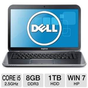 "Dell Inspiron i15R-2106sLV 15.6"" Notebook PC: Intel Core i5-3210M 2.5GHz, 8GB DDR3, 1TB HDD"