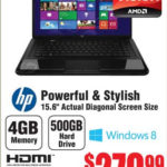 Sale: $279.99 HP 2000-2b16NR 15.6″ AMD E1-1200 4GB DDR3 500GB 5400RPM HDD Windows 8 Laptop @ Fry's
