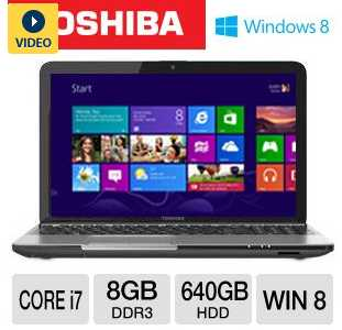 "Toshiba L855-S5383 PSKFUU-02X003 15.6"" Notebook PC w/ Intel Core i7-3630QM 2.4GHz, 8GB DDR3, 640GB HDD, DVDRW, Windows 8"