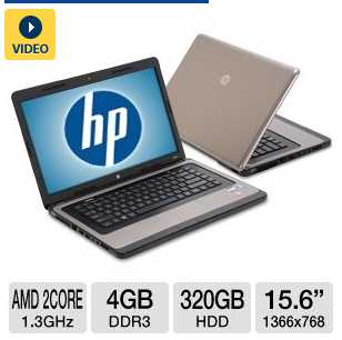 HP 635 LJ512UT 15.6&quot; Notebook PC w/ AMD Dual-Core E-300 1.3GHz, 4GB DDR3, 320GB HDD, Radeon HD 6310, DVDRW