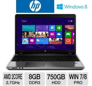 "HP ProBook 4545s C9K42UT 15.6"" Notebook PC w/ AMD Dual-Core A6-4400M 2.7GHz, 8GB DDR3, 750GB HDD, DVDRW, AMD Radeon HD 7520G, Windows 8 Pro"