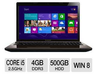 Lenovo G580 59344054 15.6-Inch Notebook PC w/ i5-3210M 2.5GHz, 4GB DDR3, 500GB HDD, DVDRW, Windows 8