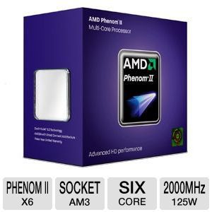 AMD Phenom II X6 1055T Processor - AMD Phenom II X6, 2000 Bus Speed, 3072 L2 Cache, Socket AM3, 125W