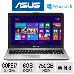 "ASUS N56VJ-WH71 15.6"" Laptop Computer w/ Intel Core i7-3630QM 2.4GHz, 6GB DDR3, 750GB HDD, DVDRW, Windows 8"