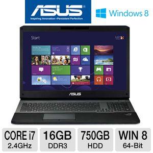 "ASUS G75VX-TS72 17.3"" Gaming Laptop w/ Intel Core i7-3630QM 2.4GHz, 16GB DDR3, 750GB HDD, NVIDIA GTX 670MX, Windows 8"