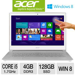 "Acer Aspire S7-391-6810 13.3"" Ultrabook PC w/ 3rd Gen. Intel Core i5-3317U 1.7GHz, 4GB RAM, 128GB SSD, 13.3"" Touchscreen Display, Windows 8 64-bit"