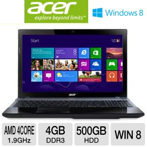 "Acer Aspire V3-551-8469 15.6"" Notebook PC w/ AMD Quad-Core A8-4500M 1.9GHz, 4GB DDR3, 500GB HDD, DVDRW, Windows 8"