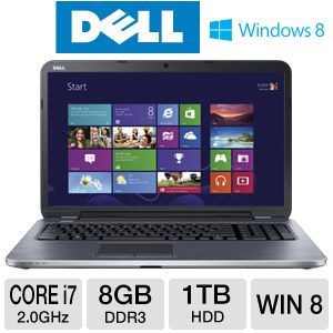 "Dell Inspiron  i17RM-2742SLV 17.3"" Notebook PC w/ Intel Core i7-3537U 2.0GHz, 8GB DDR3, 1TB HDD, DVDRW, 2GB AMD Radeon HD 8730M, Windows 8"