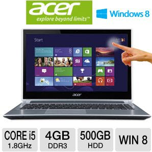 "Acer Aspire V5-471P-6498 14"" Multi-Touch Notebook PC w/ i5-3337U 1.8GHz, 4GB DDR3, 500GB HDD, Windows 8"