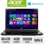 TigerDirect: Acer Aspire V3-551-8469 15.6″ Notebook PC w/ AMD Quad-Core A8-4500M 1.9GHz, 4GB DDR3, 500GB HDD, DVDRW, Windows 8 for $379.99